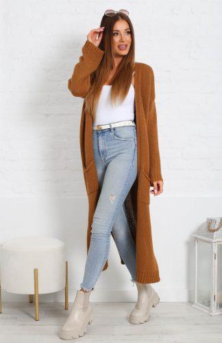 Długi ciepły sweter za łydkę z kieszeniami