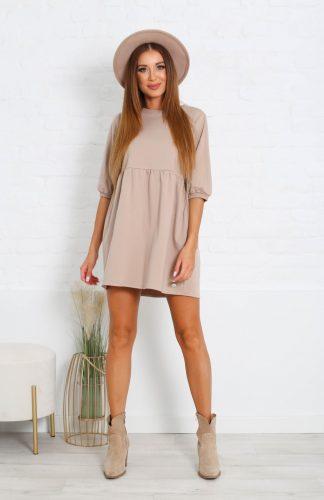 Sukienka bawełniana mini odcinana pod biustem