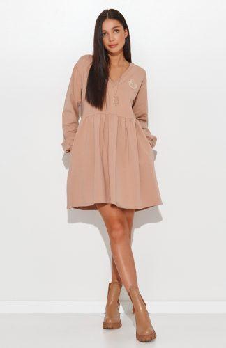 Sukienka dresowa bawełniana oversize rozkloszowana