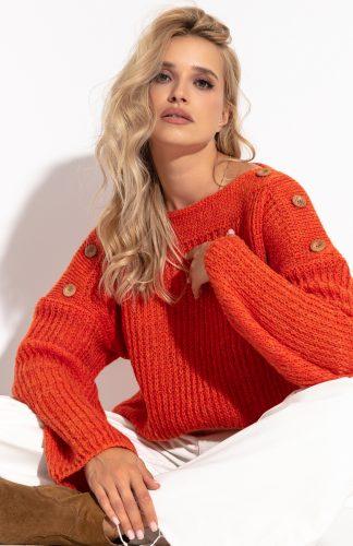 Ciepły sweter z dekoltem w łódkę i z szerokimi rękawami