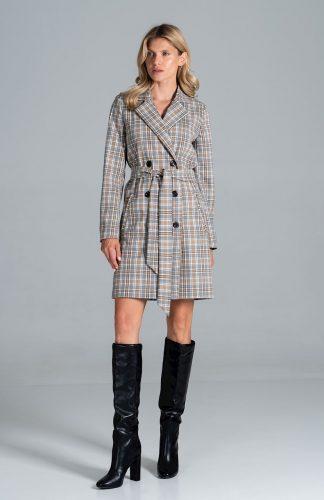 Płaszcz na jesień z kołnierzem w kratę na guziki