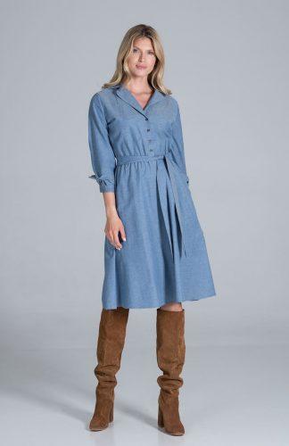 Sukienka koszulowa z rozkloszowanym dołem niebieska