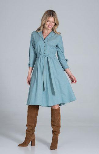 Sukienka koszulowa z rozkloszowanym dołem zielona
