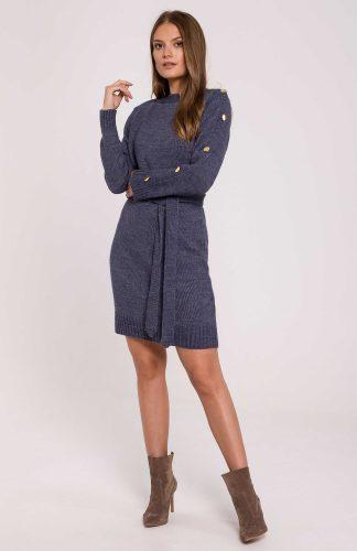 Sukienka swetrowa ciepła dopasowana z paskiem